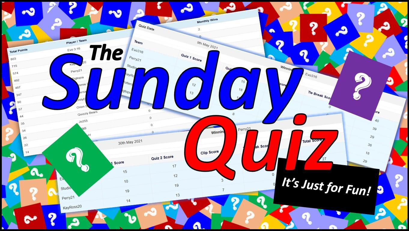 The Sunday Quiz: Sunday 19.00 – 21.00